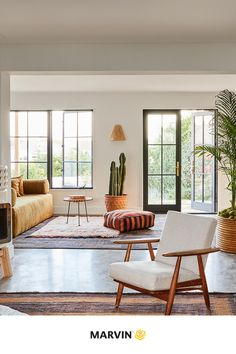 Create a dream house interior and bring the outdoors in by adding indoor plants to your interior design. Marvin Doors, Dream House Interior, Lake Cottage, Contemporary Interior Design, Window Wall, Modern Exterior, Window Design, Dream Homes, Indoor Plants