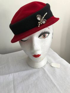 93dae66d43a 60 s Vintage Hat Red and Black Felted Wool Hat with Dragon Fly Pin G Fox   amp