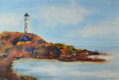 Art, Fine Art-Watercolor Painting of Lighthouse in a Rocky Cove via Etsy