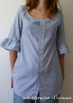 ruffled sleeves tunic from man's button down. I bet I could figure this out.