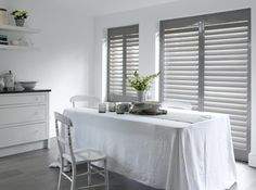 Dining room ideas for whether you're looking for dining room furniture inspiration or are in search of small or large dining room decorating ideas, we have all the inspiring pictures you need to ensure your stylish eaterie is the hot topic at the table French Door Shutters, Country Shutters, Interior Shutters, Wood Shutters, Indoor Shutters, French Doors, Dining Room Furniture Inspiration, Home Decor Inspiration, Security Shutters