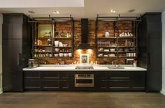 Industrial Style Kitchens Industrial Kitchen Design Creates A Great Loft Style Atmosphere Interior Loft Kitchen, Kitchen Shelves, Kitchen And Bath, New Kitchen, Kitchen Interior, Kitchen Decor, Open Shelves, Kitchen Ideas, Brick Wall Kitchen