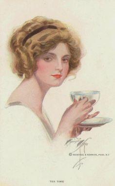 """Tea Time"" Signed Harrison Fisher Postcard R&N Glamour Girl Drinking Tea Look Vintage, Vintage Images, Vintage Prints, Vintage Art, Vintage Ladies, Victorian Ladies, Tee Kunst, Tea Reading, Gibson Girl"