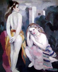 Marie Laurencin (French 1883–1956) [Cubism] Two Young Girls in a Landscape.