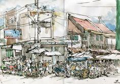 Urban Sketchers Indonesia: Pasar Gg. Baru Semarang