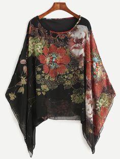 Black Floral Print Batwing Chiffon Blouse