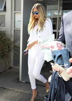 Bring an all-white look to the next level with metallic shoes and statement sunnies.