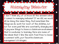 Managing Behavior | Kinder Gals The more ideas I collect, the more I can try, thank you for posting your ideas.  It doesn't hurt to collect more tips and tricks.