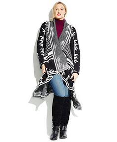 Calvin Klein Plus Size Open-Front Draped Printed Cardigan