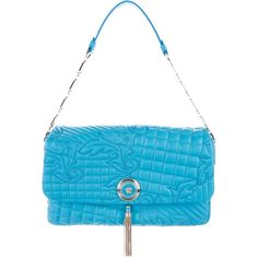 Pre-owned Versace Vanitas Medea Quilted Barocco Bag (2.305 BRL) ❤ liked on Polyvore featuring bags, handbags, blue, hand bags, blue handbags, man bag, quilted purses and blue hand bag