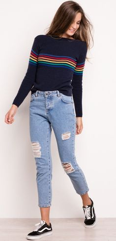 summer outfits Rainbow Sweater