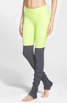Free shipping and returns on Alo 'Goddess' Ribbed Leggings at Nordstrom.com. Essential workout leggings get remixed when heathered fabric meets a ribbed knit that can be styled long or scrunched for sessions in the studio. The moisture-wicking layer is topped with a wide, comfortable waistband.