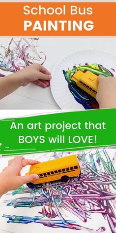 Fun Crafts and Art Projects for Kids -- School Bus Painting Activity