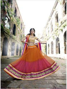 Pink/Orange Party Wear Net Women Lehenga