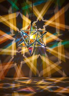 Scorpius Luminary interior light in dichroic glass. www.zakayglasscreations.com