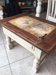 Remove glass from Coffee table, restrain too dark, bottom light just like this and grey stained wood in place of the glass Reclaimed Furniture, Refurbished Furniture, Paint Furniture, Repurposed Furniture, Furniture Projects, Furniture Making, Furniture Makeover, Refurbished End Tables, Coffee Table Refinish