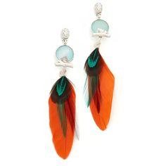GAS Bijoux Serti Plume Earrings (12,550 INR) ❤ liked on Polyvore featuring jewelry, earrings, gas bijoux, gold plated jewelry, feather earrings, feather dangle earrings and earring jewelry