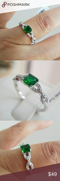 14k Gold plated Green Sapphire Princess Ring 14k Gold plated over Sterling silver Synthetic Green Emerald Princess cut Engagement Ring with 0.50ct. Available in sizes 5 6 7 8 9. Item#DGR1672GRN-7 Jewelry Rings