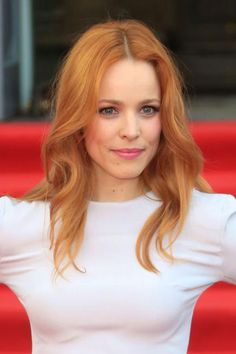 Rachel McAdams's orange hair walks the line between natural and rainbow, and we love it. #Colorful #Hairstyles