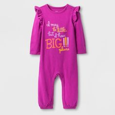 07f32714bdc Baby Girls  Big Plans Long Sleeve Romper - Cat   Jack™ Raspberry Verbena