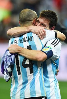 """WORLD CUP Messi hugs Barca and Argentina teammate, Javier Mascherano. Mascherano: """"We've suffered for many years, but it was worth it. Messi Argentina, Argentina Football, Lionel Messi, World Cup 2014, Fifa World Cup, Rugby, Argentina National Team, Good Soccer Players, Uefa Champions"""
