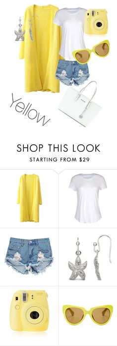 """""""Yellow"""" by lalalou63 ❤ liked on Polyvore featuring James Perse, Boohoo, Allurez, Fujifilm, Linda Farrow and MICHAEL Michael Kors"""