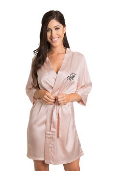 8c072c0c5b Personalized Embroidered Satin Robe in Ren Overlay Style