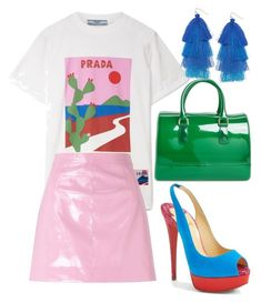 """Prada colour blocking"" by graciepeach on Polyvore featuring Furla, Prada, Miss Selfridge, Christian Louboutin, Humble Chic, colourful and colourblock"