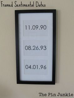 Such a cute idea!  Frame important dates like birthdays & anniversaries.