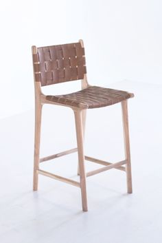 Woven Leather Bar Stools Strap Counter Stool Saffron Poe Tagged at coachoutletstores. White Bar Stools, Leather Counter Stools, Leather Bar Stools, Counter Bar Stools, Counter Chair, Leather Lounge, Saddle Leather, Kitchen Island Stools With Backs, Kitchen Stools