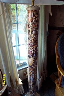 Floor lamp filled with a shell collection (from Sanibel Island).