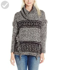 Kensie Women's Fuzzy Mixed Media Sweater Aztec, Black Combo, Large - All about women (*Amazon Partner-Link)