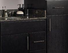 Black Bathroom Vanities Black Vanity Bathroom, Bathroom Vanities, Bathroom Ideas, Stained Kitchen Cabinets, Staining Cabinets, Black Stains, Family Room, Sweet Home, House Decorations