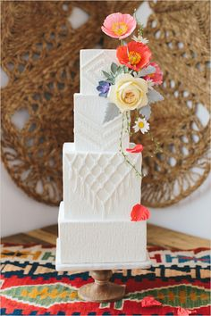 Wedding Cake Ideas modern southwest inspired wedding cake, boho wedding ideas, bohemian wedding trends - Need a little unexpected texture into your alternative wedding day? This Cacti Love You Wedding Inspiration has just the element you are looking for! Square Wedding Cakes, White Wedding Cakes, Beautiful Wedding Cakes, Cake Wedding, Wedding Trends, Boho Wedding, Wedding Ideas, Trendy Wedding, Wedding Venues