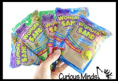 Wonder Sand Pouch with 2 Mini Sand Molds - Stretchy Soft Moving Sand-L | Curious Minds Busy Bags Putty And Slime, Magic Sand, Slime Toy, Busy Bags, Sensory Toys, Pouch, Shapes, Mini, Tote Bags