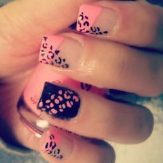pink and black cheetah print acrylic nails