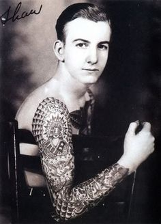 """vintagegal: """" Bob Shaw tattooed by Bert Grimm in the Shaw and his family went on to buy and run The """"World Famous Bert Grimms Tattoo Studio"""" in Long Beach, California until """" Old Tattoos, Life Tattoos, Body Art Tattoos, Tattoos For Guys, Sleeve Tattoos, Vintage Tattoos, History Tattoos, Arabic Tattoos, Tatoos"""