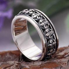 Men's Sterling Silver Fleur Spinner Ring - Jewelry1000.com