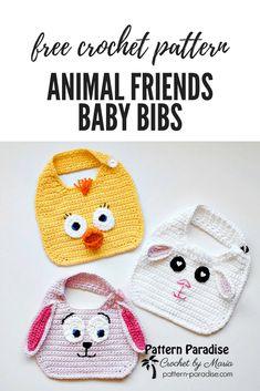 Free Crochet Pattern: Animal Friends Bibs | Pattern Paradise. Make this cute bib for your favorite baby. #crochet #patternparadisecrochet #freepattern #babybibs