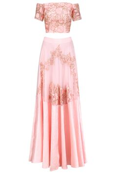 Pink floral and birds embroidered off shoulder blouse and lehenga set available only at Pernia's Pop Up Shop. Stylish Outfits, Fashion Outfits, Fashion Ideas, Color Quotes, Pernia Pop Up Shop, Designer Wear, Lehenga, Indian Fashion, Off Shoulder Blouse