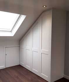 Refined Attic storage near me,Attic room at sleeping giant inn and Attic bedroom fitted wardrobes. Loft Conversion Bedroom, Home, Attic Apartment, Urban Interiors, Loft Spaces, Interior, House, Bedroom Cupboards, Loft Storage