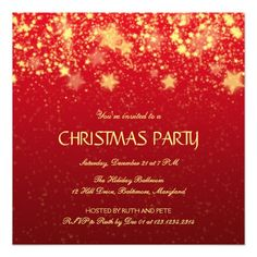 Beautiful Christmas Party Shining Stars Red Personalized Announcements
