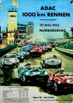 Car Racing Nurburgring, 27 May 1962 - original vintage poster listed on AntikBar.co.uk