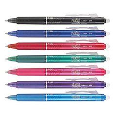 Pilot® FriXion Clicker Erasable Gel Pens, Fine Point, 0.7 mm, Assorted Barrels, Assorted Ink, Pack Of 7