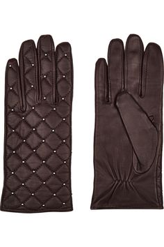 Sandro Aldora studded quilted leather gloves