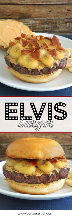 Elvis Burger – Tasty Peanut Butter & Banana Burger [Recipe] The Elvis burger is topped off with fried bananas, peanut butter, & bacon. A banana burger in honor of the late, great hip gyrator Elvis. Hot Dog Recipes, Beef Recipes, Cooking Recipes, Hamburger Recipes, Barbecue Recipes, Cooking Tips, Burger And Fries, Beef Burgers, Veggie Burgers