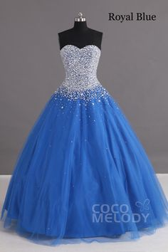 Charming Ball Gown Sweetheart Floor Length Tulle Blue Lace-up Corset Quinceanera dress with Crystals COLF1400F