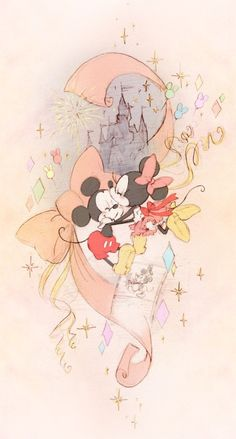 Mickey Mouse & Minnie Mouse with Cinderella's castle in the background. This is done using watercolours.
