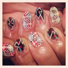 レトロ柄&ラインアートネイル #avarice #art #sao #nails #nailart #retro #design #line (NailSalon AVARICE)