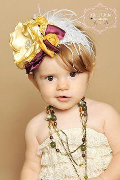Gold and Burgundy Flower headband  -Baby headband- Newborn headband- Infant headband- Toddler headband-Flower girl